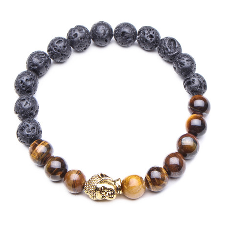 Buddha Bracelet // Lava Stone // Brown