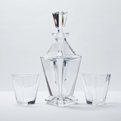 Empire Crystal Liquor Decanter + 6 Tumblers