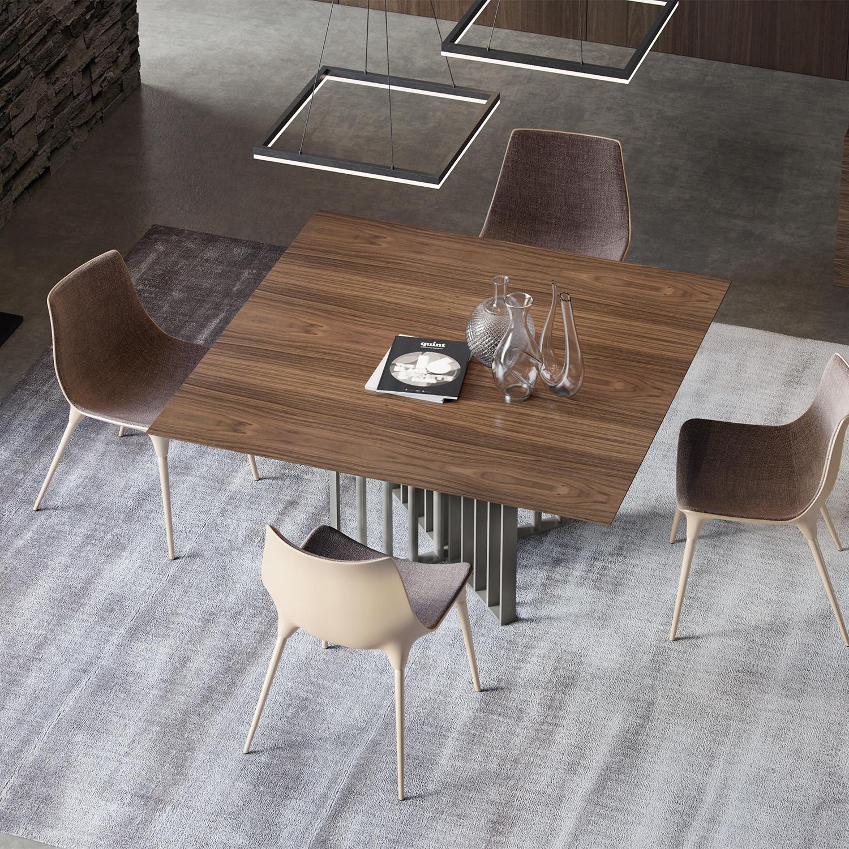 Spitalfields dining table walnut titanium modloft for Table titanium quadra 6