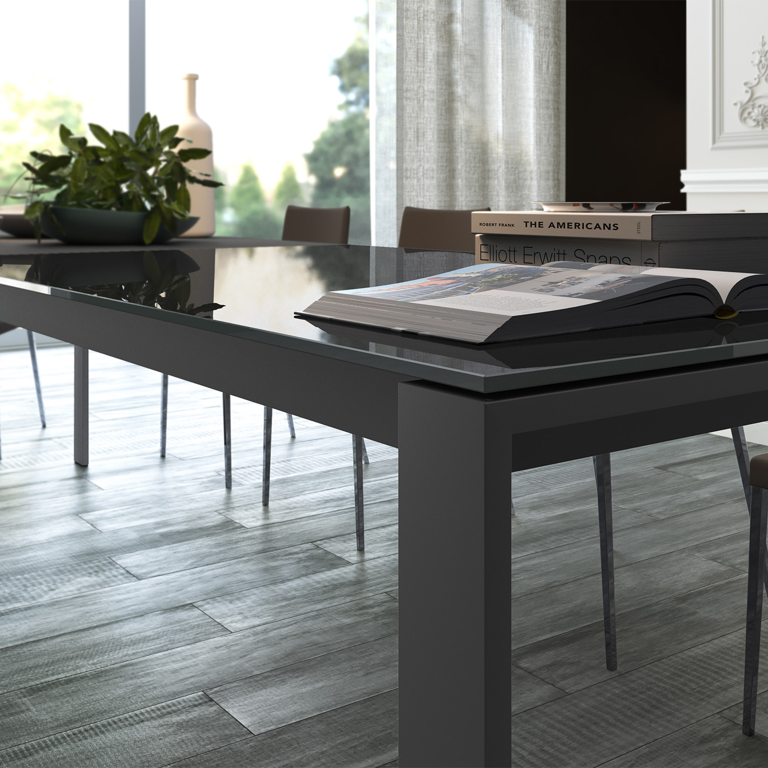 napoli dining table anthracite modloft touch of modern. Black Bedroom Furniture Sets. Home Design Ideas