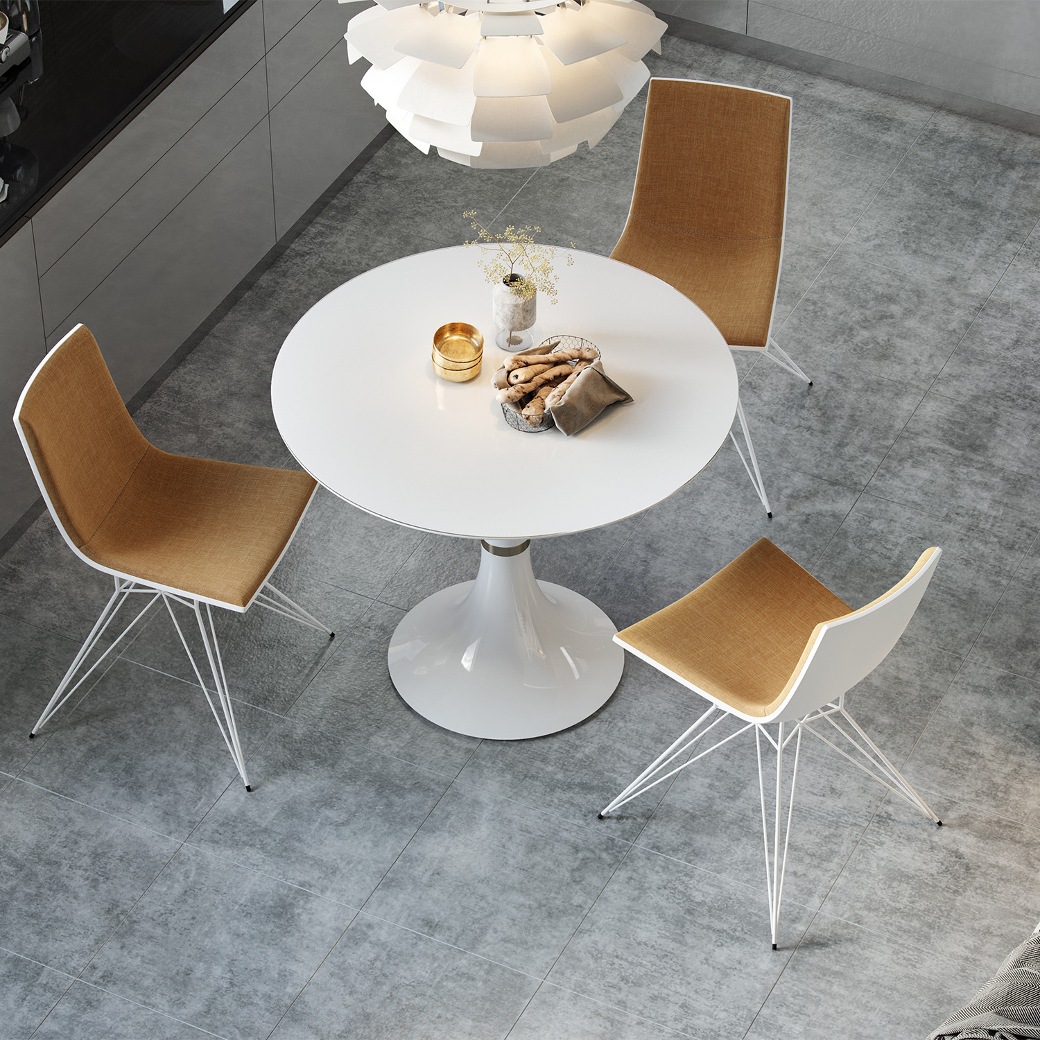 Waterloo Dining Table White Glass White Lacquer Small - 36 diameter dining table
