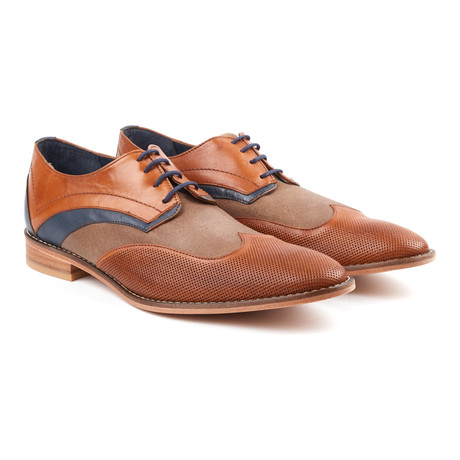 Jack's André // Textured Dress Shoe // Tan + Navy