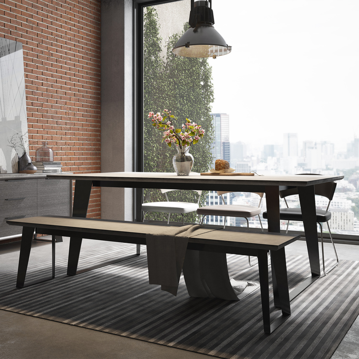 Amsterdam dining table gray concrete modloft touch for Dining table weight