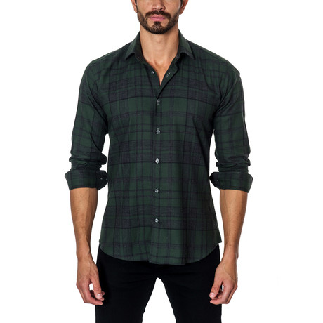 Plaid Long-Sleeve Button-Up // Green + Navy