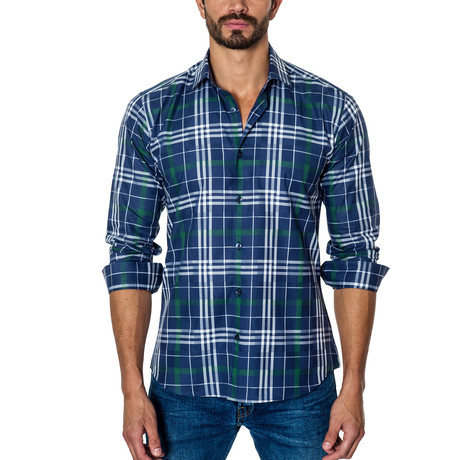 Plaid Long-Sleeve Button-Up // Blue + White + Green