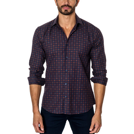 Plaid Long-Sleeve Button-Up // Navy + Wine