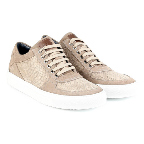 Venice Low-Top Snake Print Sneaker // Tan