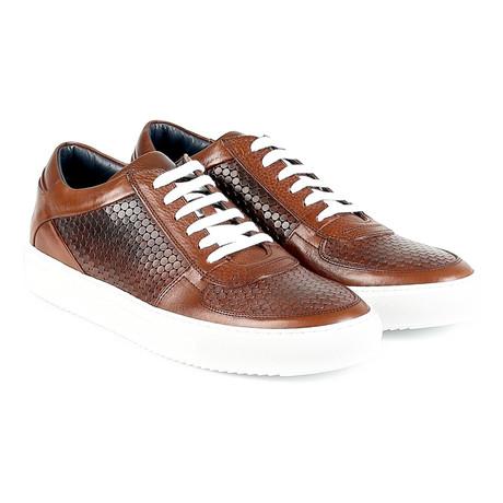 Roma Textured Low-Top Sneaker // Brown