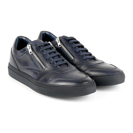 Giovanni Zip-Lace Low-Top Sneaker // Navy