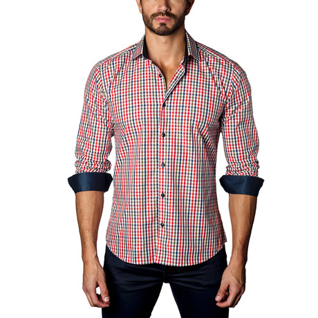 Long-Sleeve Button-Up // Blue + Red