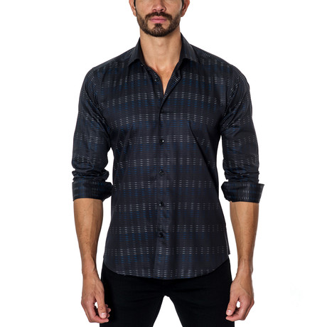 Long-Sleeve Button-Up // Black + Navy