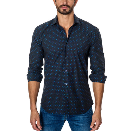 Spotted Long-Sleeve Button-Up // Dark Blue