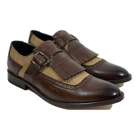 Lino Fringe Strap Dress Shoe // Brown + Gold