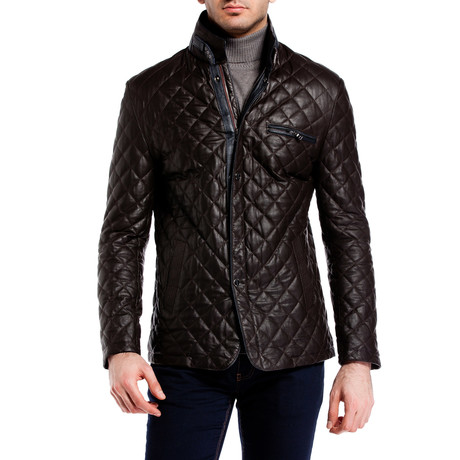 Quilted Snap Button Jacket // Brown