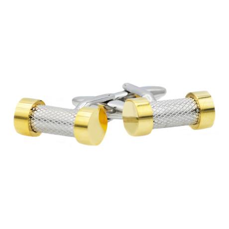 Textured Bar Cufflink // Gold