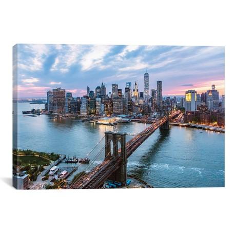 "Brooklyn Bridge + Lower Manhattan Skyline // Matteo Colombo (26""W x 18""H x 0.75""D)"