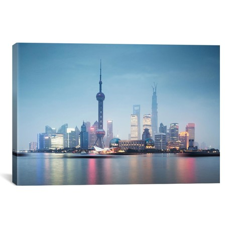 """Skyline At Dusk, Lujiazui, Pudong, Shanghai, People's Republic Of China // Matteo Colombo (40""""W x 26""""H x 1.5""""D)"""