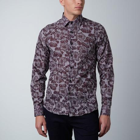 Overlay Floral Dress Shirt // Black