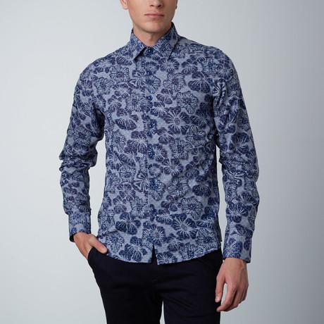 Overlay Floral Dress Shirt // Royal