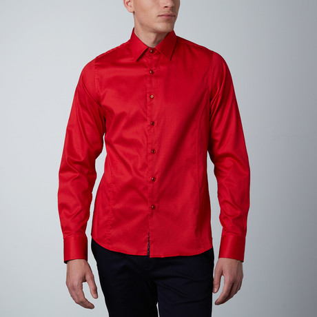 Contrast Cuff Dress Shirt // Red