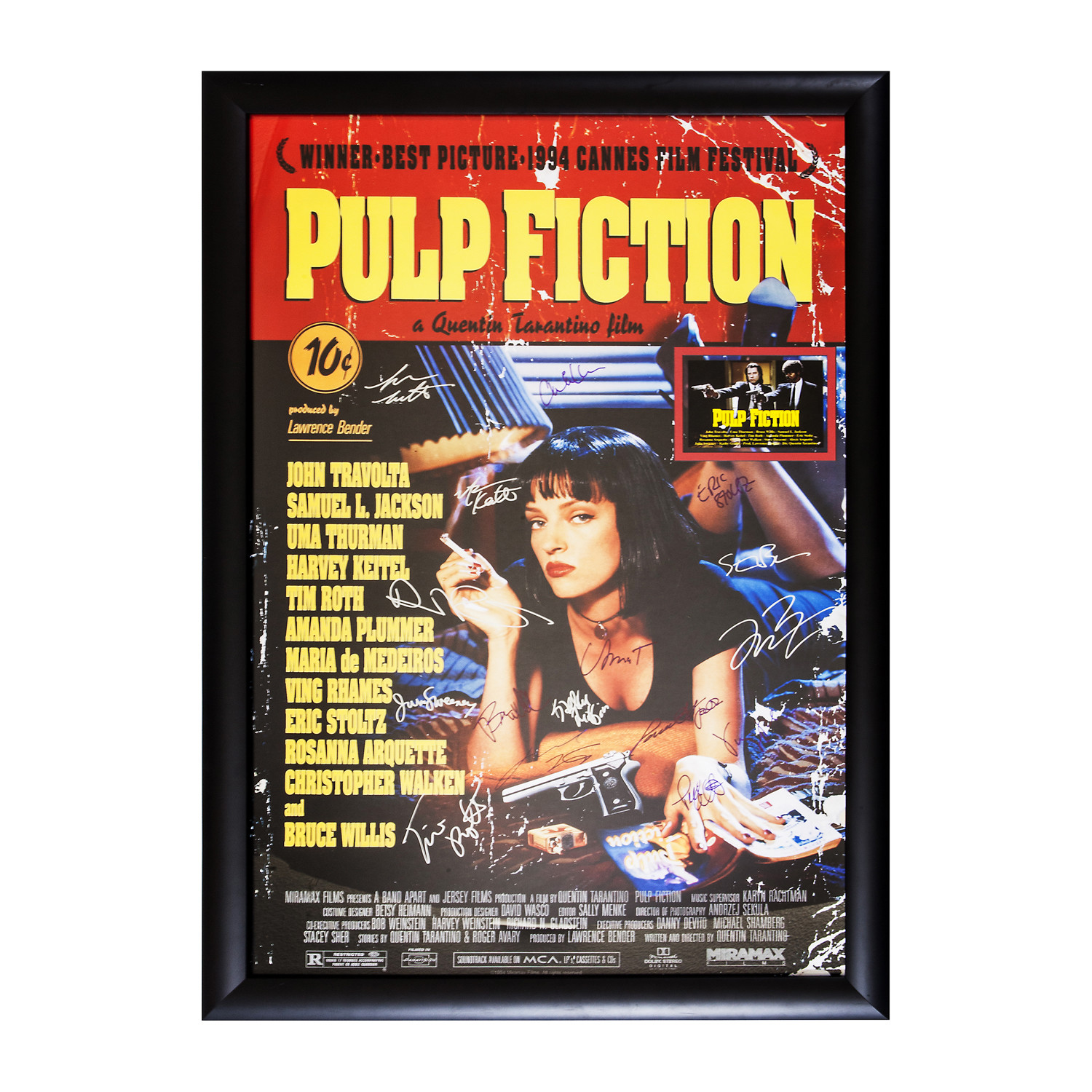 pulp fiction signed movie poster pop culture