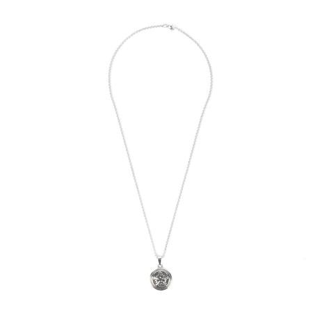 Fancy Medallion Pendant // Rolo Chain Necklace