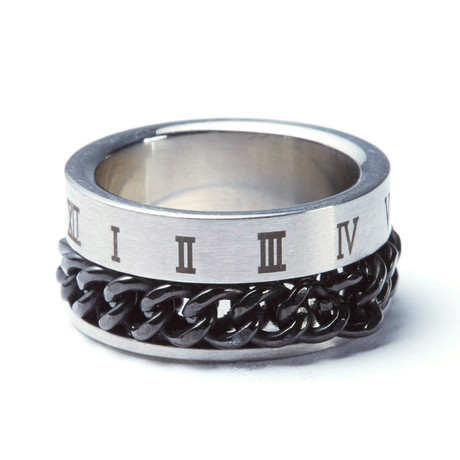 Stainless Steel Cuban Link + Roman Ring (Size: 9)