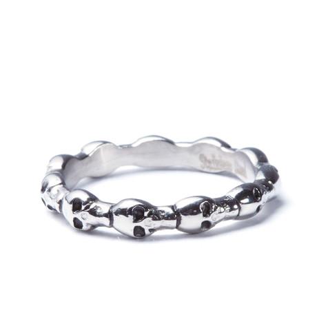 Stainless Steel Skull Eternity Ring (Size: 8)