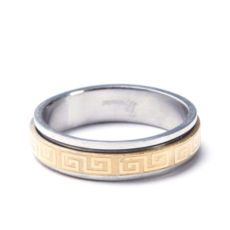 2-Tone Gold Stainless Steel Greek Ring (Size: 9)