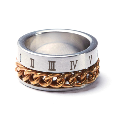 2-Tone Gold Stainless Steel Cuban Link + Roman Ring (Size: 9)