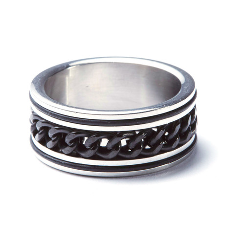 2-Tone Stainless Steel Cuban Link Ring (Size: 9)