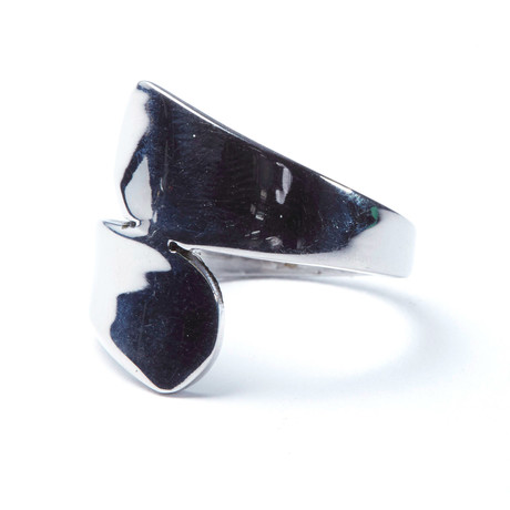 Stainless Steel Bypass Teardrop Ring (Size: 9)