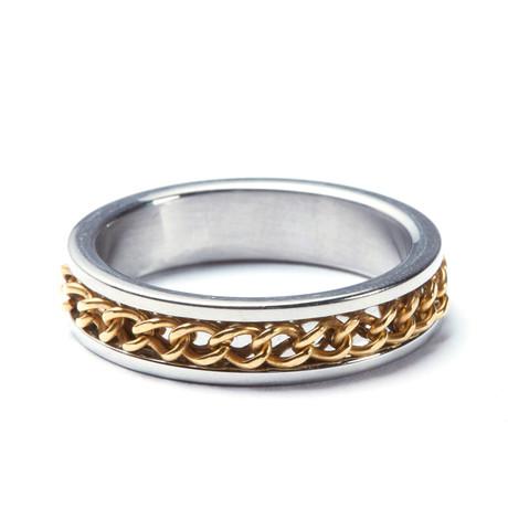 2-Tone Gold Cuban Chain Ring (Size: 9)