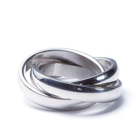 Stainless Steel 3-Interlocked Ring (Size: 6)