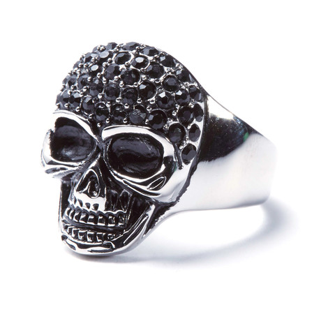 Stainless Steel Skull + Austrian Crystals Ring (Size: 9)
