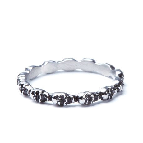 Silver Skull Band Ring (Size: 8)