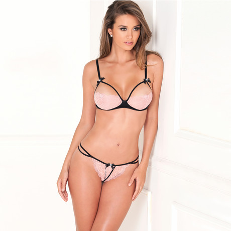 Lace Bra + G-String Set // Pink (S/M)