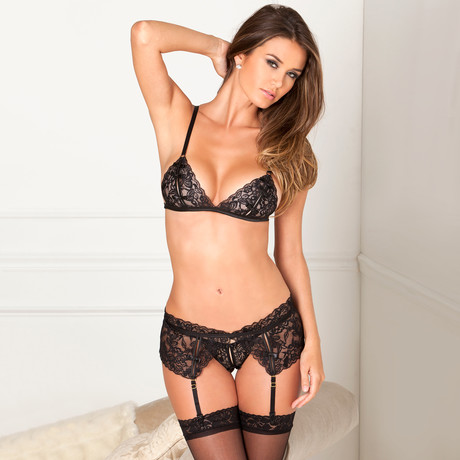 Lace Garter + Thigh High Set // 4 Piece Set // Black (Small/Medium)