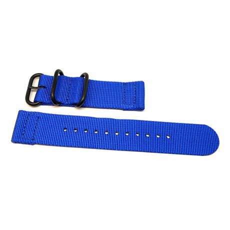 DaLuca Two Piece Ballistic Nylon NATO Watch Strap // Blue + PVD Buckle