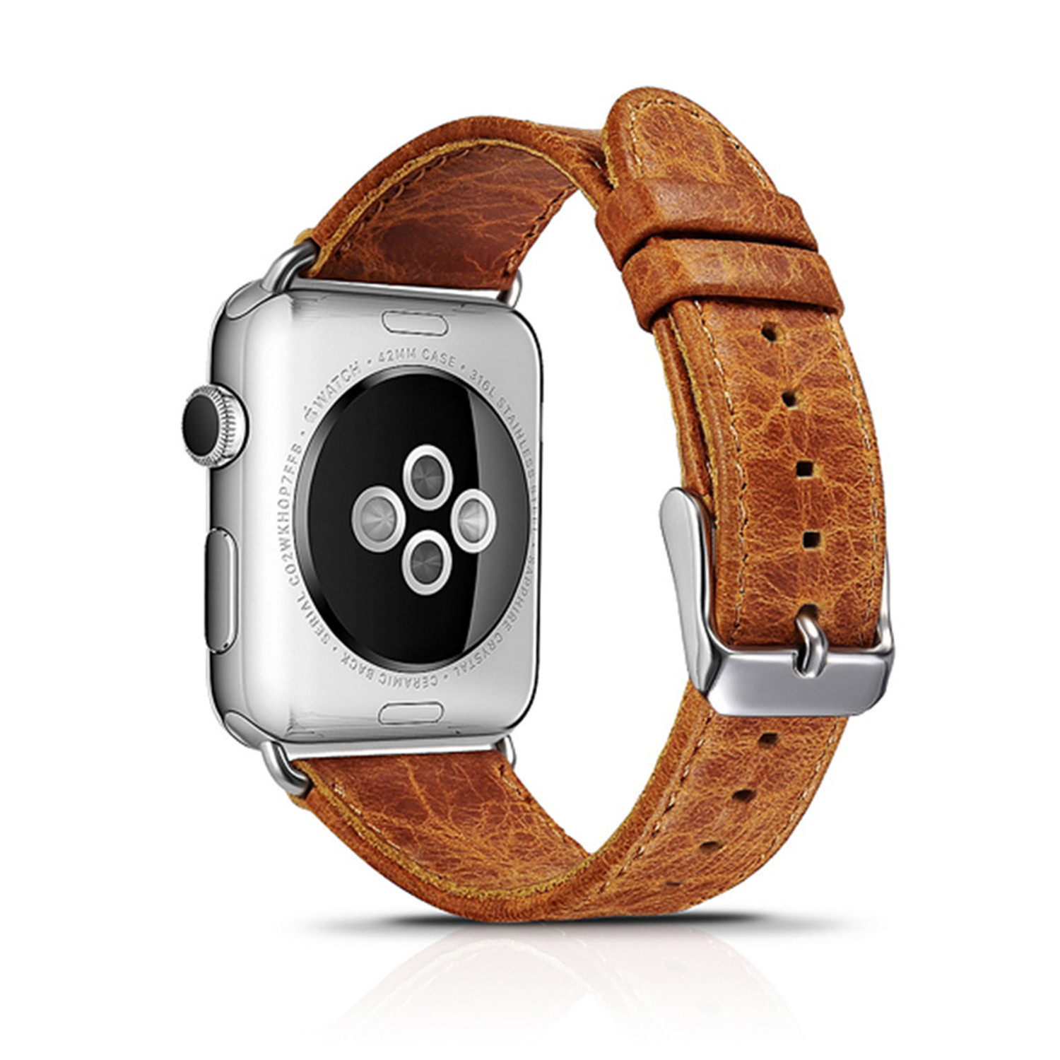 Classic Soft Leather Apple Watch Band // 42mm (Antique ...