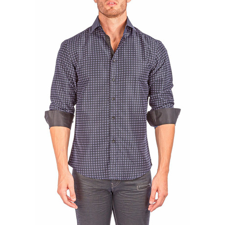 Long-Sleeve Button-Up Micro-Diamond Shirt // Black