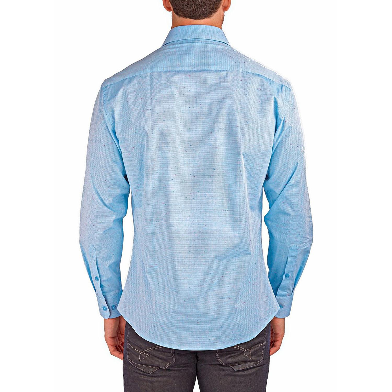 Linen texture long sleeve button up shirt light blue s for Linen long sleeve shirt