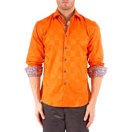 Logan Long-Sleeve Button-Up Check Shirt // Orange