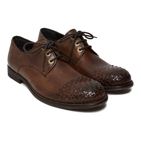 Textured Cap-Toe Derby // Dark Brown