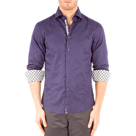 Long-Sleeve Button-Down Jacquard Shirt // Navy (XS)