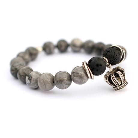 Silver Crown Bracelet // Grey + Black
