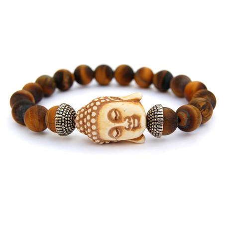 Tiger Eye Buddha Bracelet // Brown