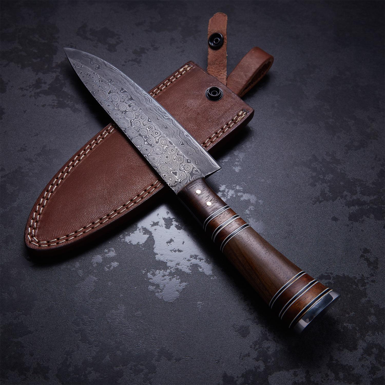 Rosewood + Walnut French Chef Knife