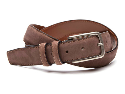 Photo of Boconi Premium Italian Leather Belts Tyler Leather Belt + Signature Plaid Double Keeper // Brown Nubuck (40) by Touch Of Modern