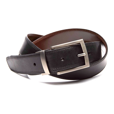 Xavier Reversible Leather Belt // Black + Brown (32)
